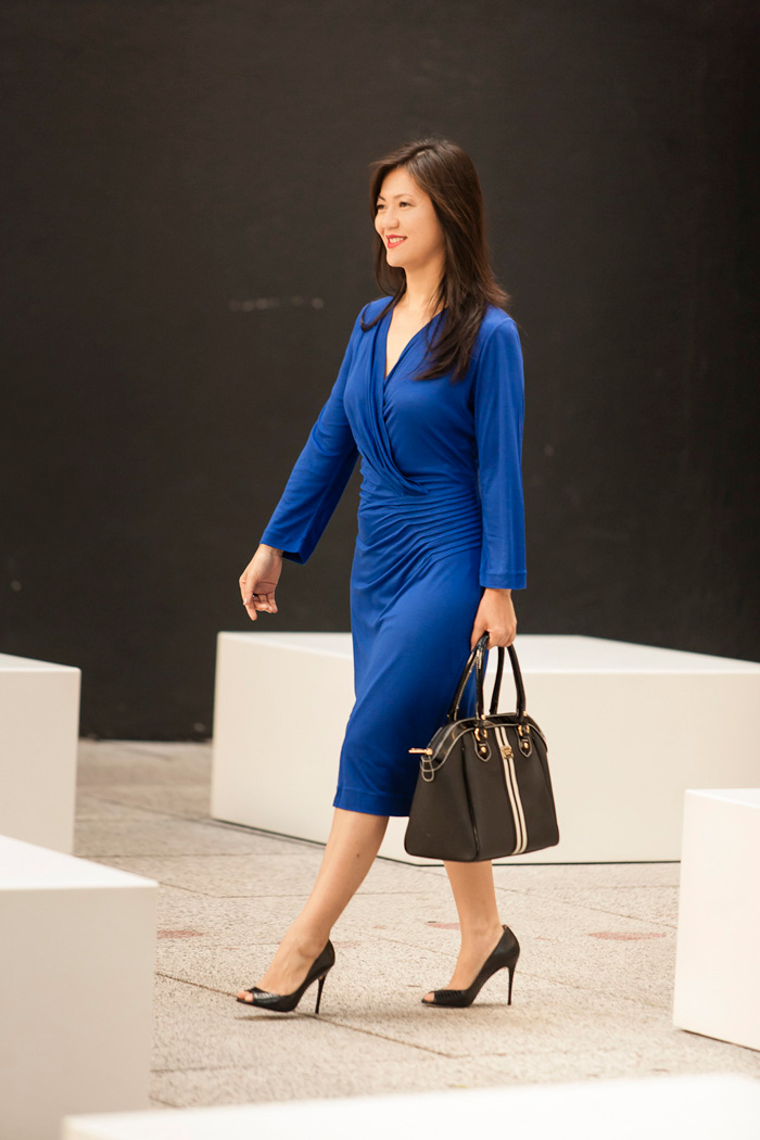 Sapato para vestido preto e azul